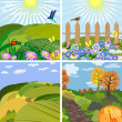 Seasonal landscape park and the hills - Stock Vector