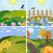 Seasonal landscape park and the hills — Imagen vectorial