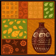 African abstract pattern with a vase — Stock Vector