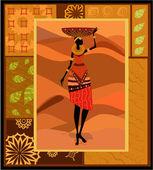 Ornement de femme africaine — Vecteur