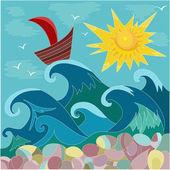 Sea sun boat — Stock Vector