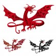 Red dragon with wings — Stock Vector