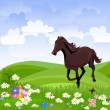 Horse in the meadow — Stock Vector