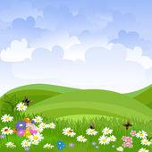 Landscape lawn flowers — Stock Vector