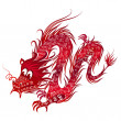 Stock Vector: Red Chinese Dragon
