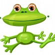 Green frog funny - Stock Vector