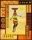 African girl dressed in a decorative — Stock Vector