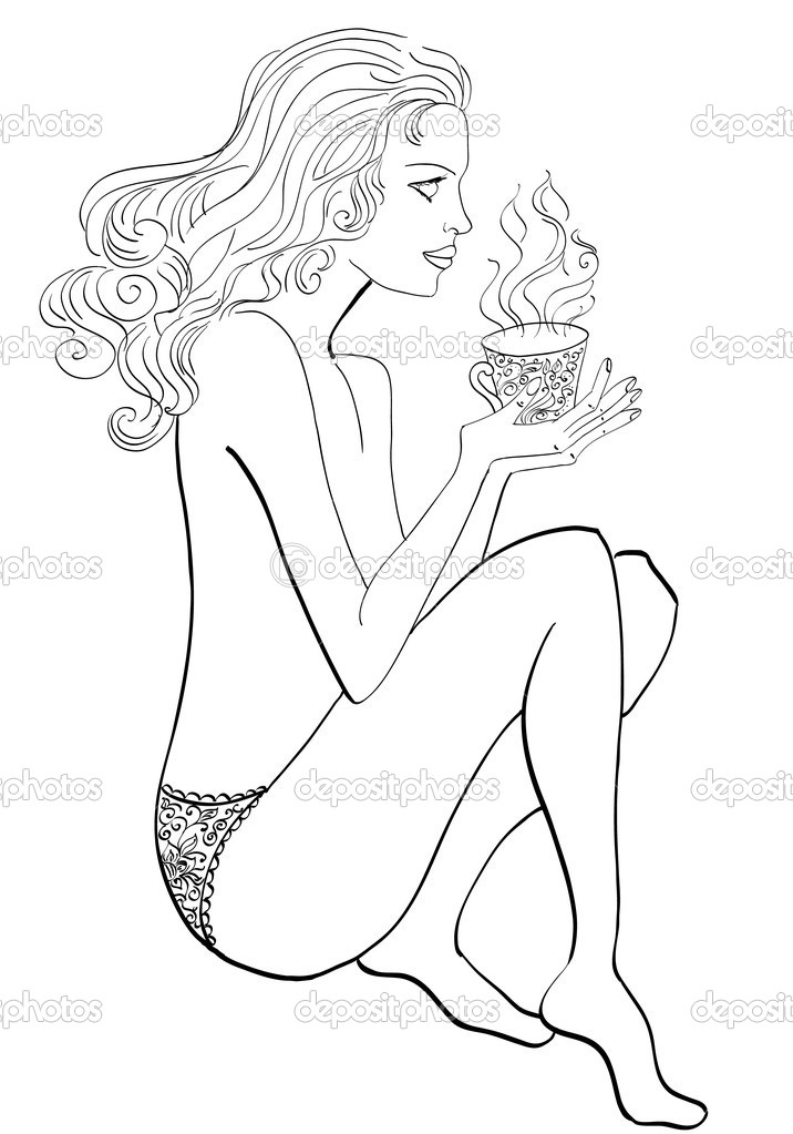 Drawing woman with a cup of tea — Stock Vector #6564658