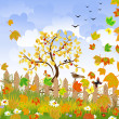 Autumn landscape with a fence — Stock Vector