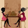 Royalty-Free Stock Imagen vectorial: Tea in the cafe with cake