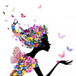 Girl with flowers and butterflies — Stock Vector #6641773