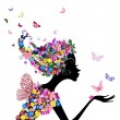 Girl with flowers and butterflies — Stockvectorbeeld