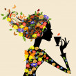 Vector de stock : Girl in a pattern of flowers with a cup