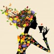Vecteur: Girl in a pattern of flowers with a cup