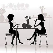 Silhouette of beautiful girls in cafes — Stock Vector