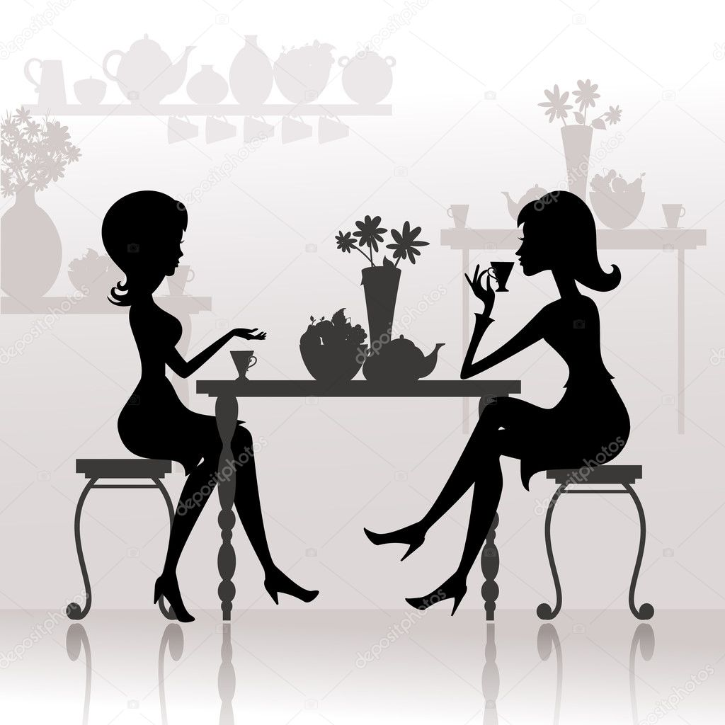 Silhouette of beautiful girls in cafes — Stock Vector #6641759