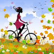 Girl on bike outdoors in autumn — Stock Vector #6735101