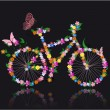 Bike with flowers — Grafika wektorowa