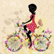 Girl on bike grunge — Imagen vectorial