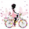 Stock Vector: Girl on a bicycle with a romantic butterflies