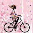 Girl on bike grunge romantic — Vettoriali Stock