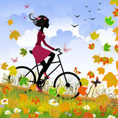 Girl on bike outdoors in autumn — Stock Vector