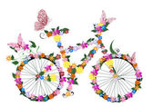 Bike with flowers — Stock Vector