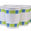 Paper disposable coffee cups isolated. — Stock Photo