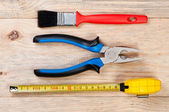 Building tools on wooden background. — Stock Photo
