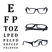 Eye glasses isolated with eye chart. — Stock Photo