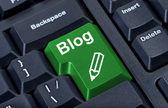 Computer green button blog with pencil, internet concept. — Stock Photo