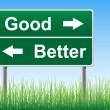 Good and Better road sign on sky background, grass underneath. — Stockvector #6172708