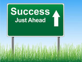 Success road sign on the sky background, grass underneath. — Vector de stock