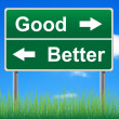图库照片: Good and better road sign on sky background, grass underneath.