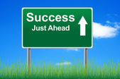 Success road sign on sky background, grass underneath. — Stock Photo