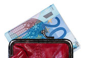 Money in wallet isolate on white background. — Stok fotoğraf