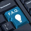 Stock Photo: Button with icon lamp, F.A.Q. internet concept.
