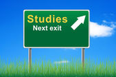 Studies road sign on sky background, grass underneath. — Stock Photo