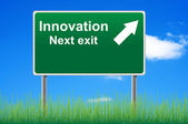 Innovation road sign on sky background, grass underneath. — Stock Photo