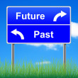 Future past conceptual signpost on sky background. — 图库照片