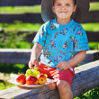 Little boy in funny hat with fruits sitting on rural wooden log — Stock Photo
