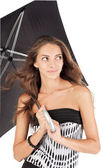 Young beautiful woman with black umbrella portrait — Stock Photo
