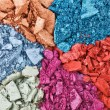 Set of broken multicolor eye shadow, background macro — Stock Photo