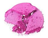 Broken purple eye shadow, isolated on white macro — Stock Photo
