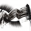Black mascara stroke, brush and false eyelashes abstract composi — ストック写真