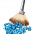 Makeup wide brush with blue crushed eye shadow, isolated on whit — Stock Photo