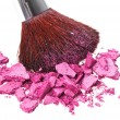 Makeup brush with purple crushed eye shadow, isolated on white m — Stock Photo #5682390
