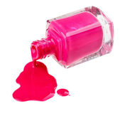 Bottle of pink nail polish with enamel drop samples, isolated on — Stock Photo