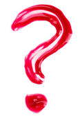 Question-mark shaped red fluid lips gloss samples, isolated on w — Stock Photo