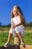 Niedliche kleine Mädchen mit blonden langen Haaren outdoor Portrait vor — Stockfoto